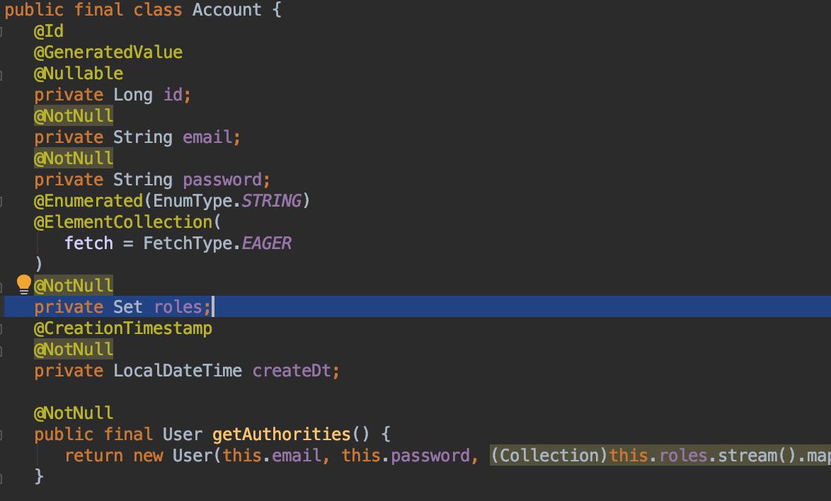 Account Set\<AccountRole\>