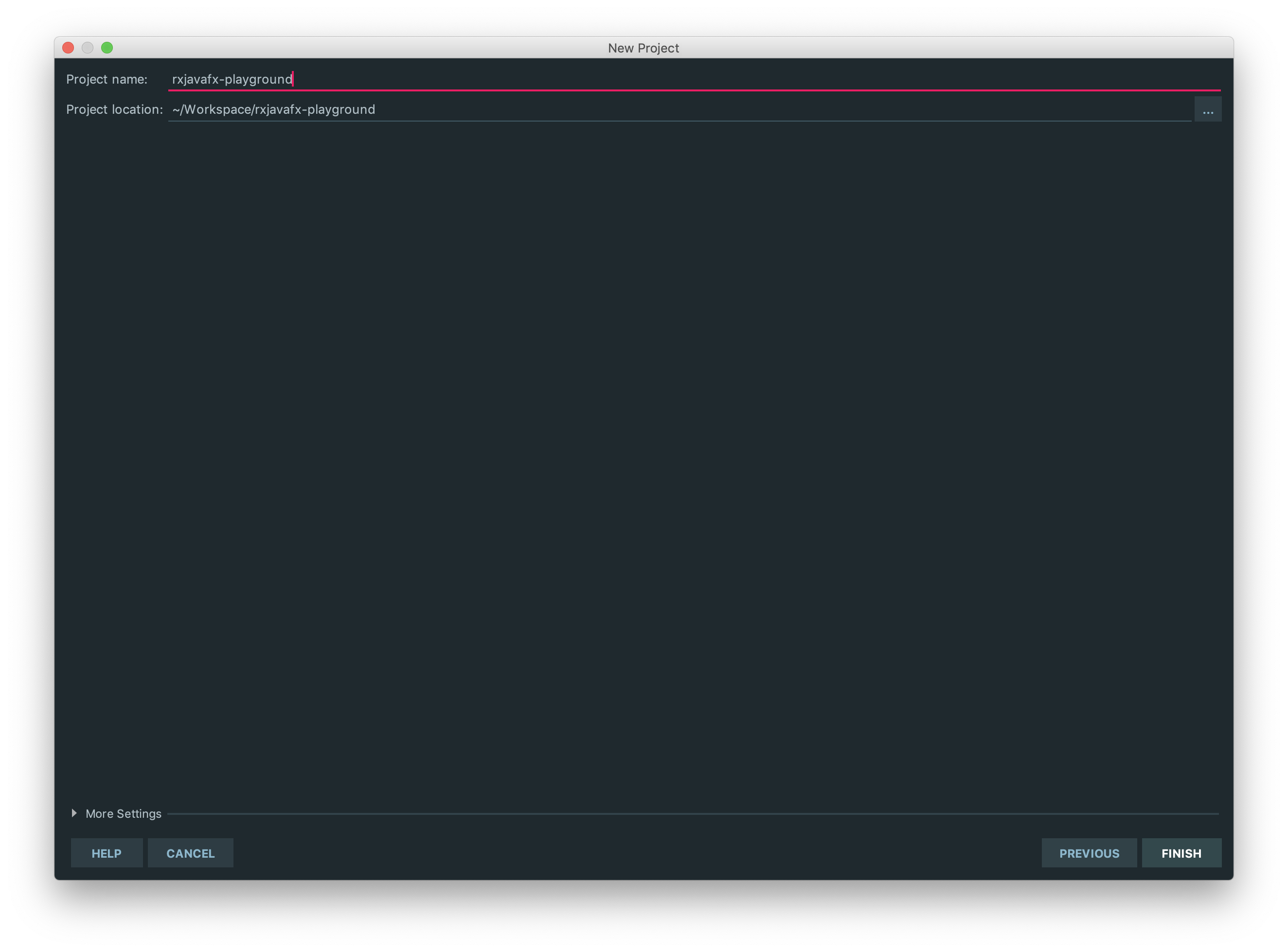 project name: rxjavafx-playground, Project location: ~/Workspace/rxjavafx-playground