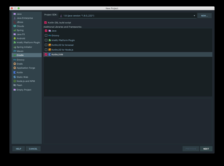 IntelliJ gradle new project window, checked java and Kotlin/JVM wit java1.8 version. check kotlin dsl build script