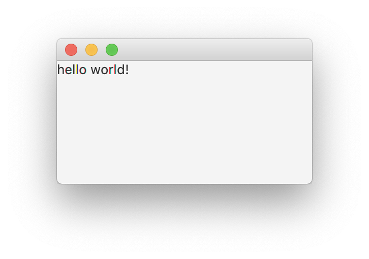 windows, an single line 'hello world!'