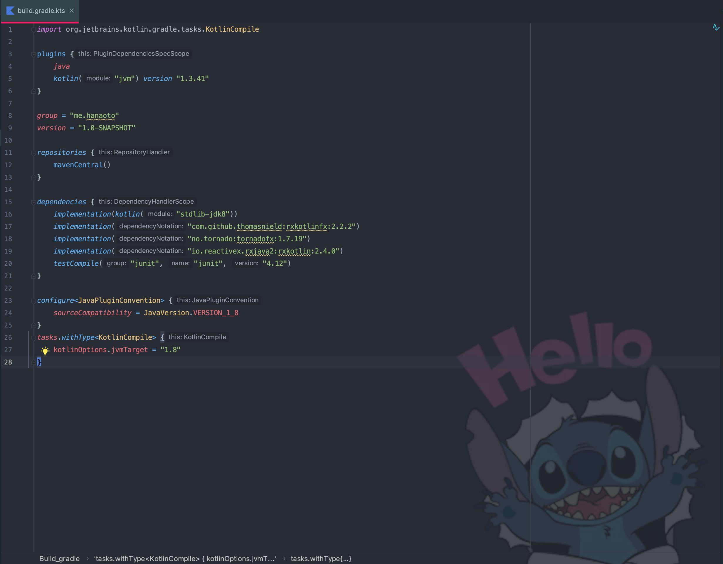 build.gradle.kts with some dependencies